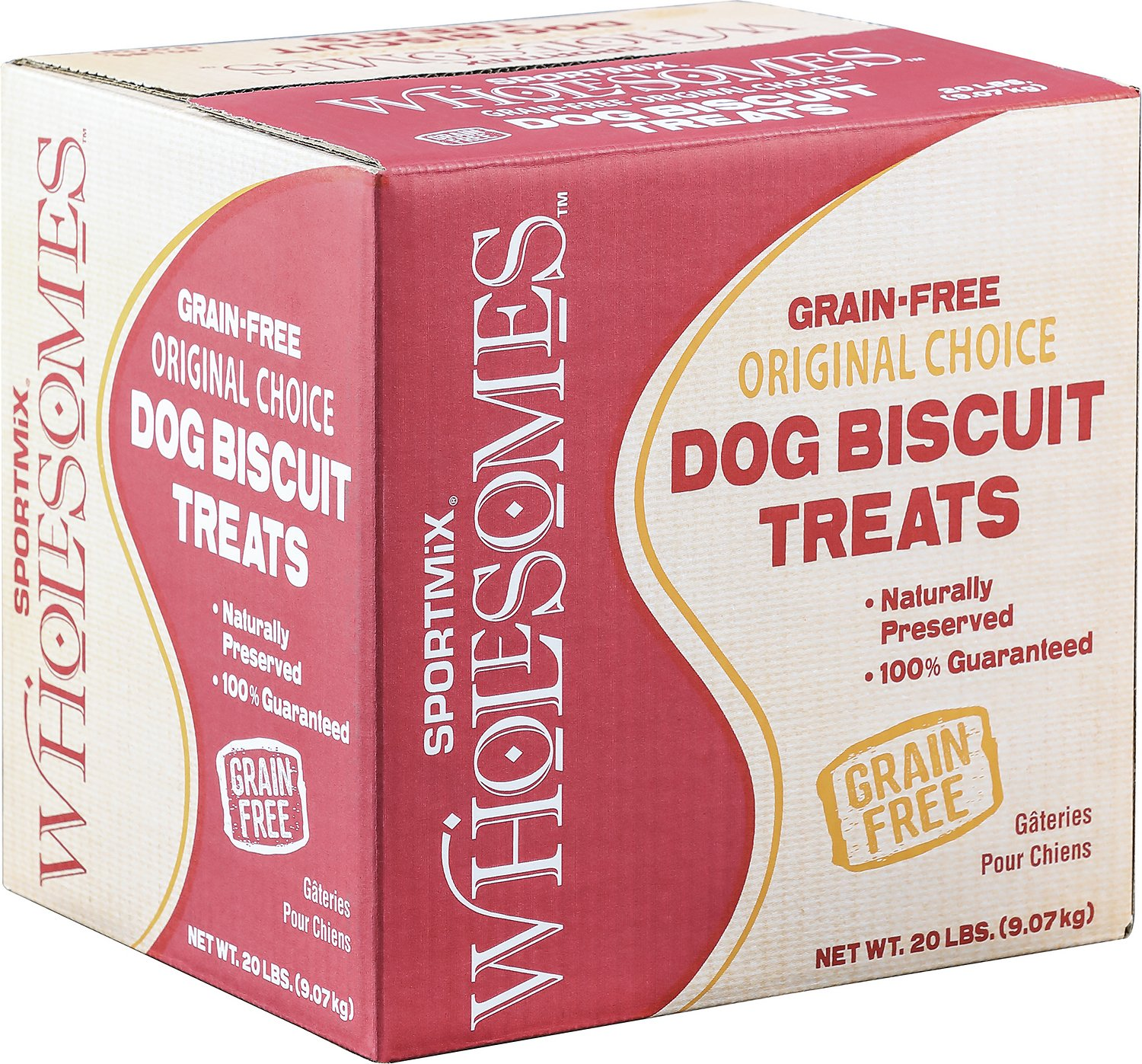 SPORTMiX Wholesomes Grain-Free Medium Golden Biscuit Dog Treats, 20-lb