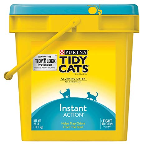 Tidy Cats Clumping Cat Litter Instant Action Immediate Odor Control for Multiple Cats, 27-lb pail