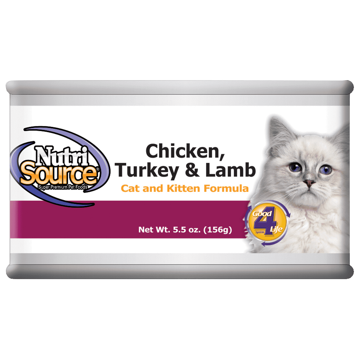 NutriSource Cat and Kitten Chicken Turkey and Lamb Canned Cat Food, 5-oz