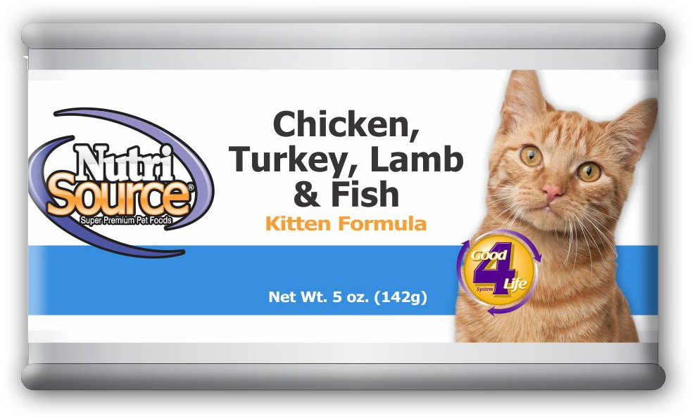 NutriSource Kitten Chicken, Turkey, Lamb and Fish Canned Cat Food, 5-oz, case of 12