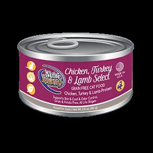 NutriSource Grain Free Chicken, Turkey & Lamb Select Wet Cat Food, 5.5-oz, case of 12