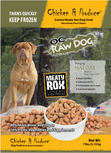 OC Raw Dog Chicken & Produce Meaty Rox Raw Frozen Dog Food, 7-lb