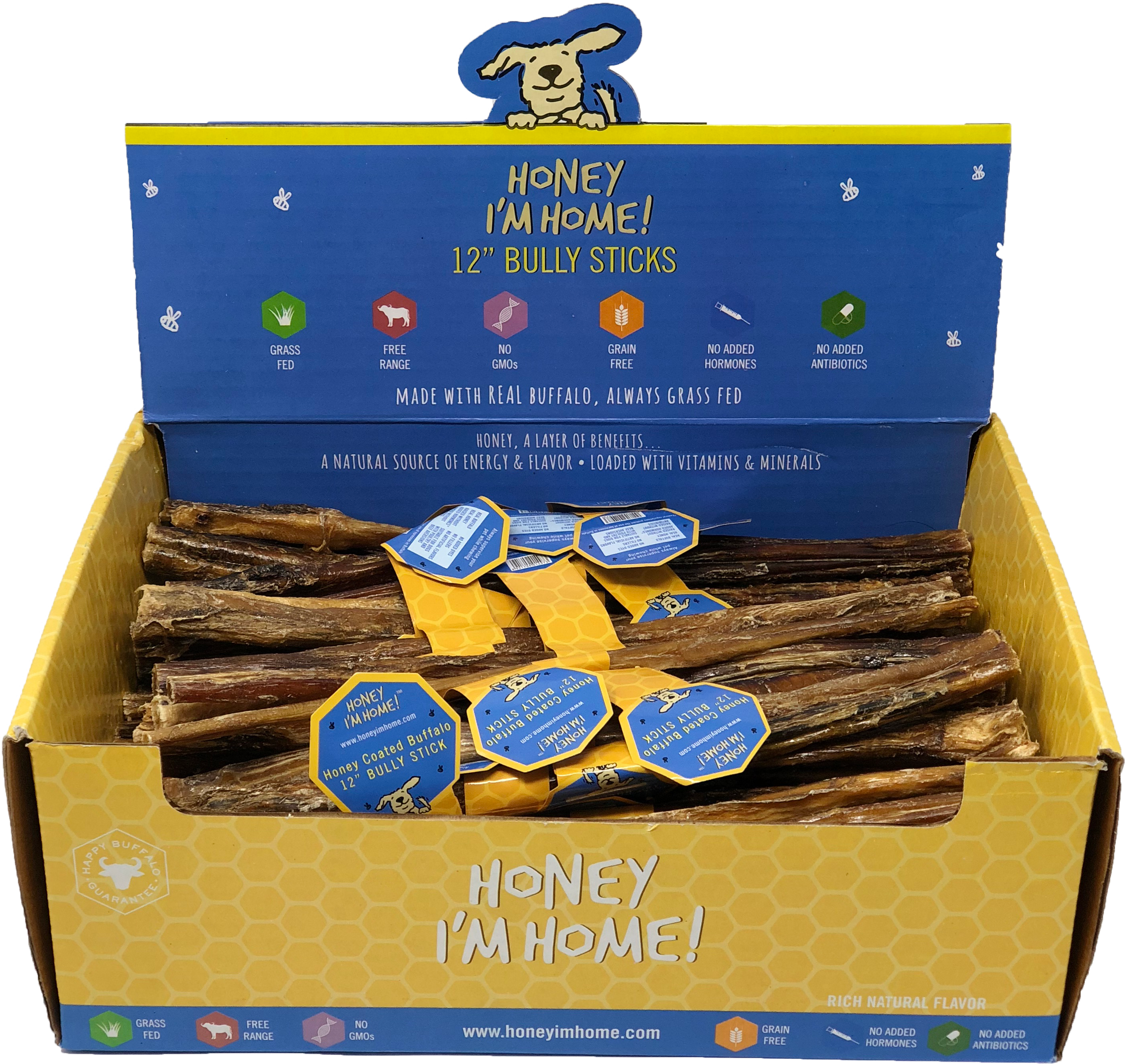 Honey I'm Home Natural Honey Coated Buffalo Bully Sticks Dog Chews, 12""