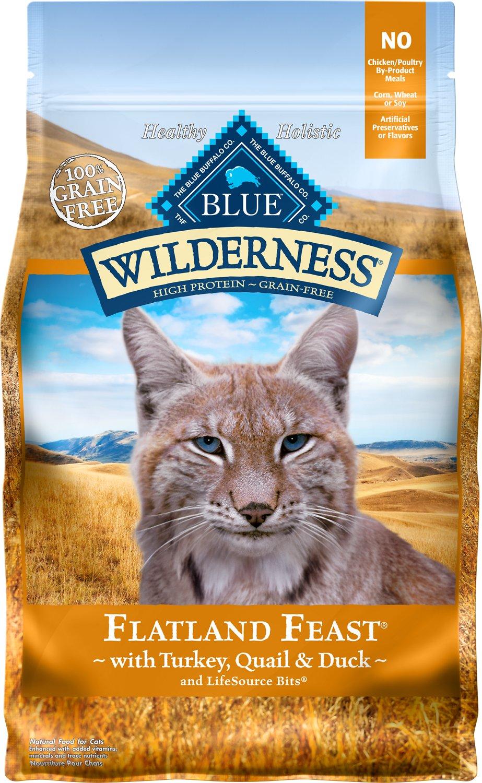 Blue Buffalo Wilderness Flatland Feast Turkey, Quail & Duck Formula Grain-Free Dry Cat Food, 4-lb bag
