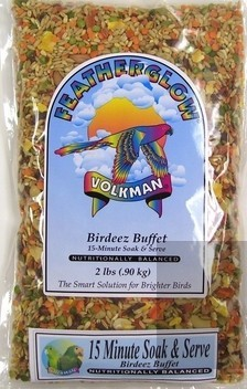 Volkman Featherglow Birdeez Buffet 15 Minute Soak & Serve Bird Food, 2-lb
