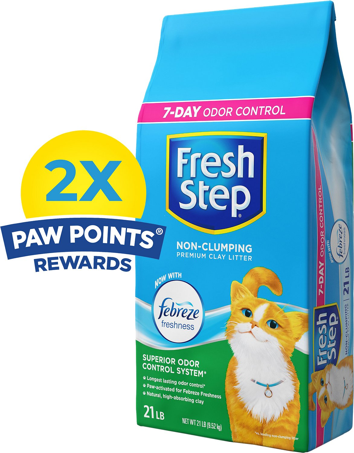 Fresh Step Scented Non-Clumping Clay Cat Litter with Febreeze, 21-lb bag