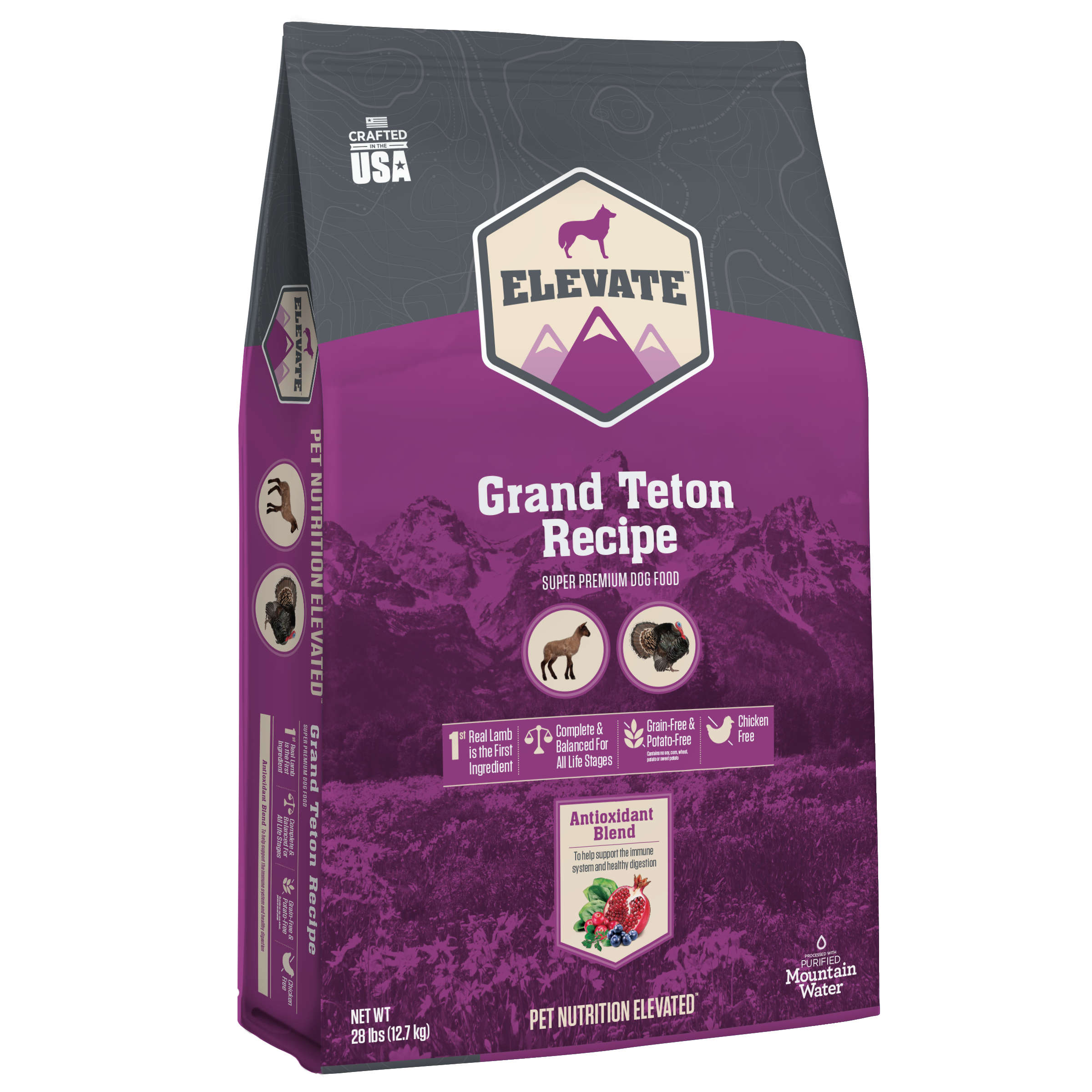 Elevate Grand Teton Lamb Recipe Super Premium Grain-Free Dry Dog Food, 28-lb