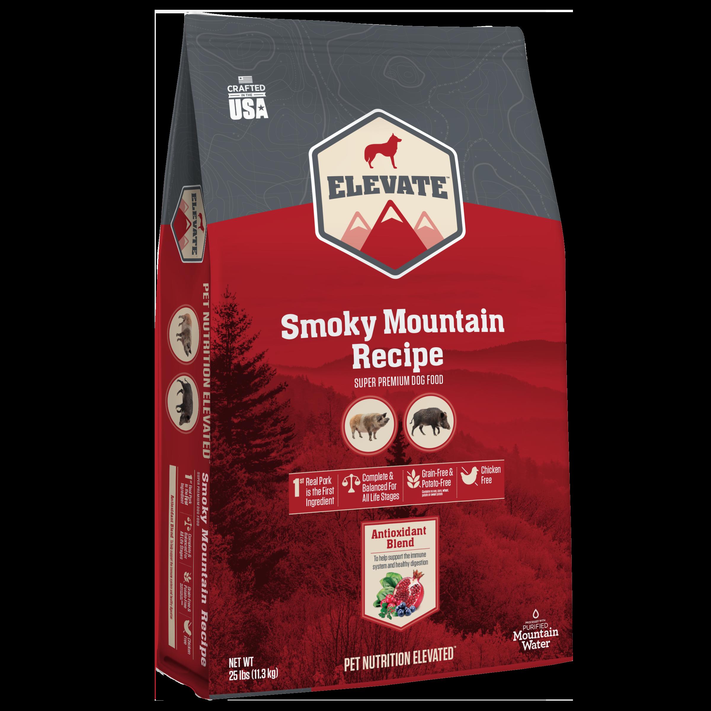 Elevate Smoky Mountain Pork Recipe Super Premium Grain-Free Dry Dog Food, 25-lb