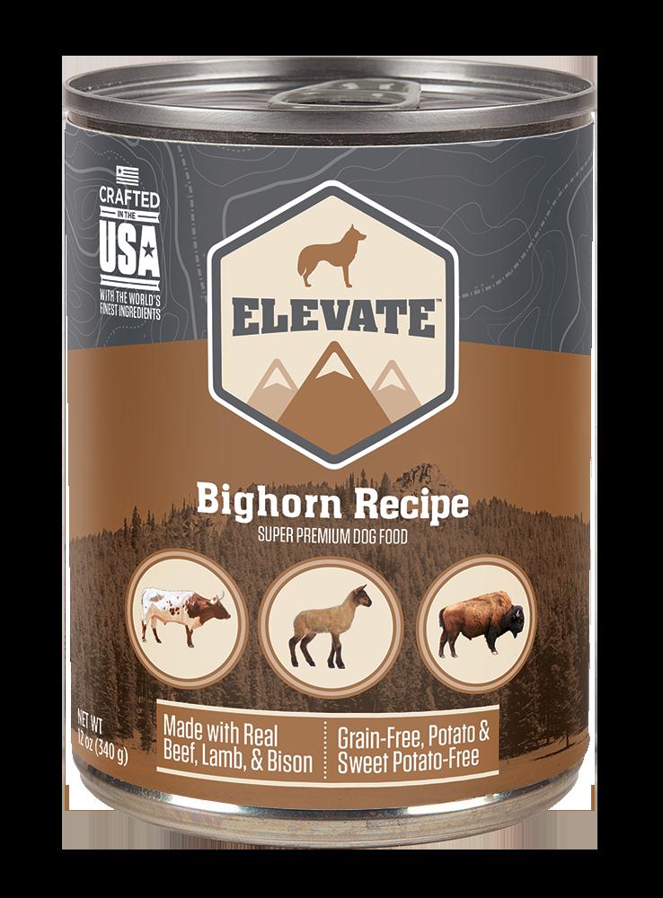 Elevate Bighorn Bovine Recipe Super Premium Wet Dog Food, 12-oz