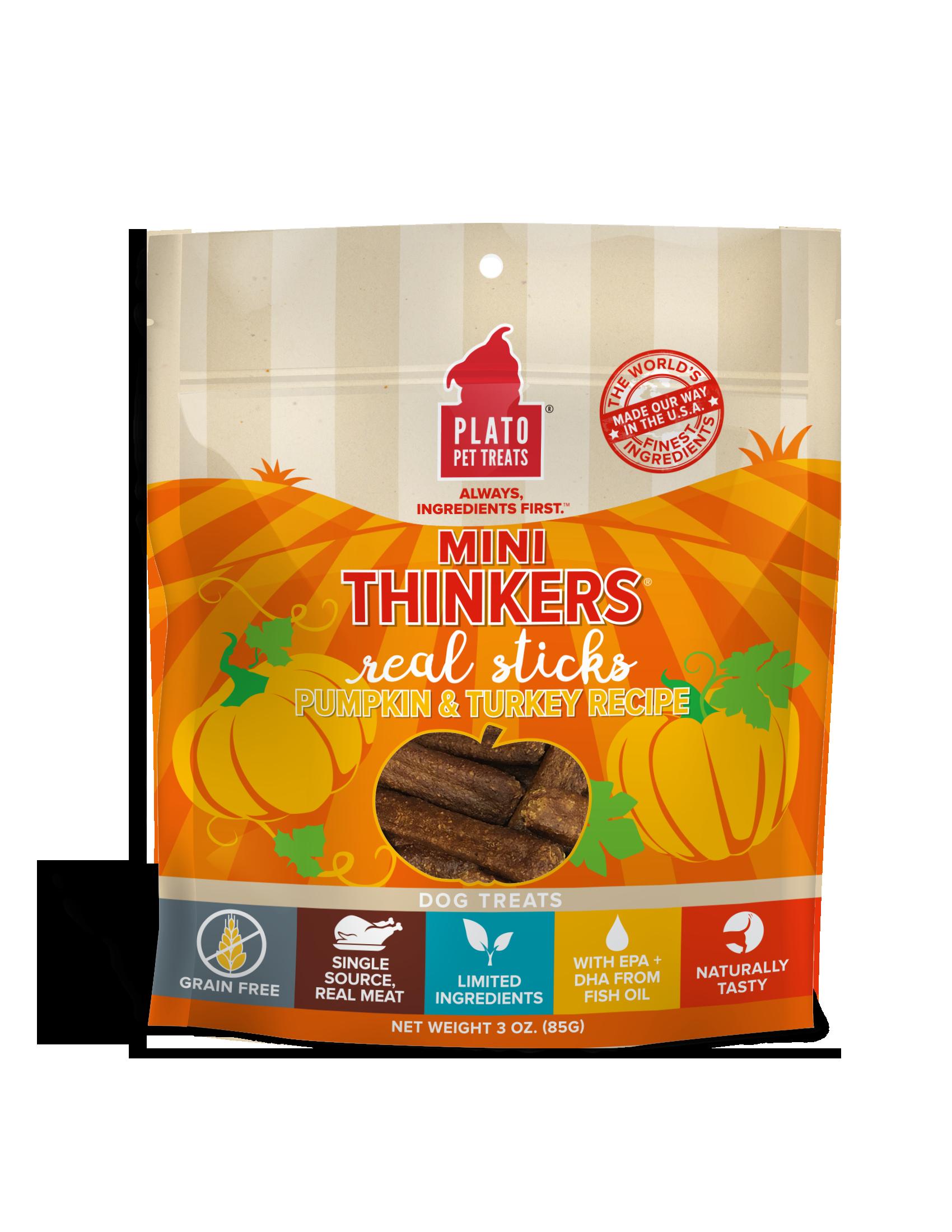 Plato Mini Thinkers Pumpkin & Turkey Recipe Grain-Free Dog Treats, 6-oz