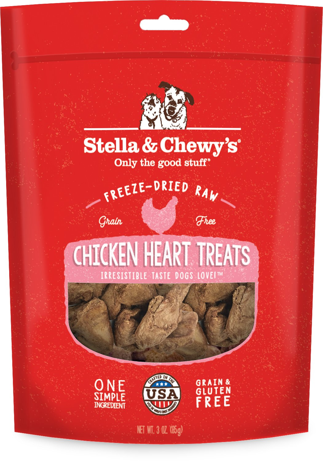 Stella & Chewy's Chicken Hearts Freeze-Dried Dog Treats, 3-oz bag