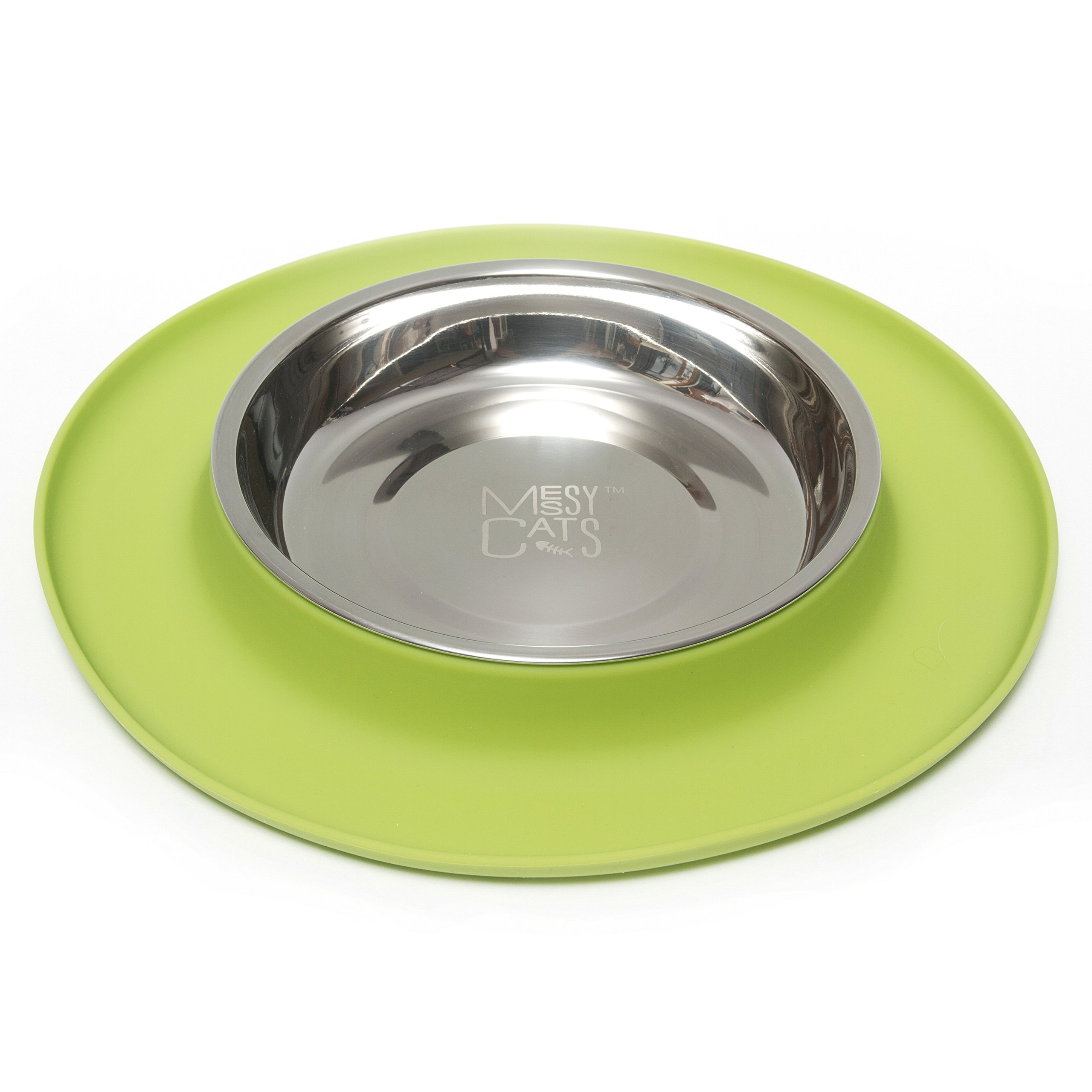 Messy Cats Stainless Steel Cat Feeder with Non-Slip Silicone Base, Green