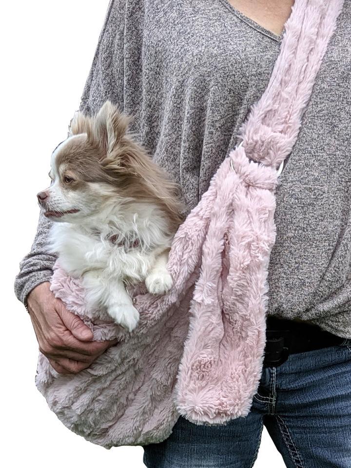 The Dog Squad Adjustable Furbaby Sling Bag Dog Carrier, Blush Bella