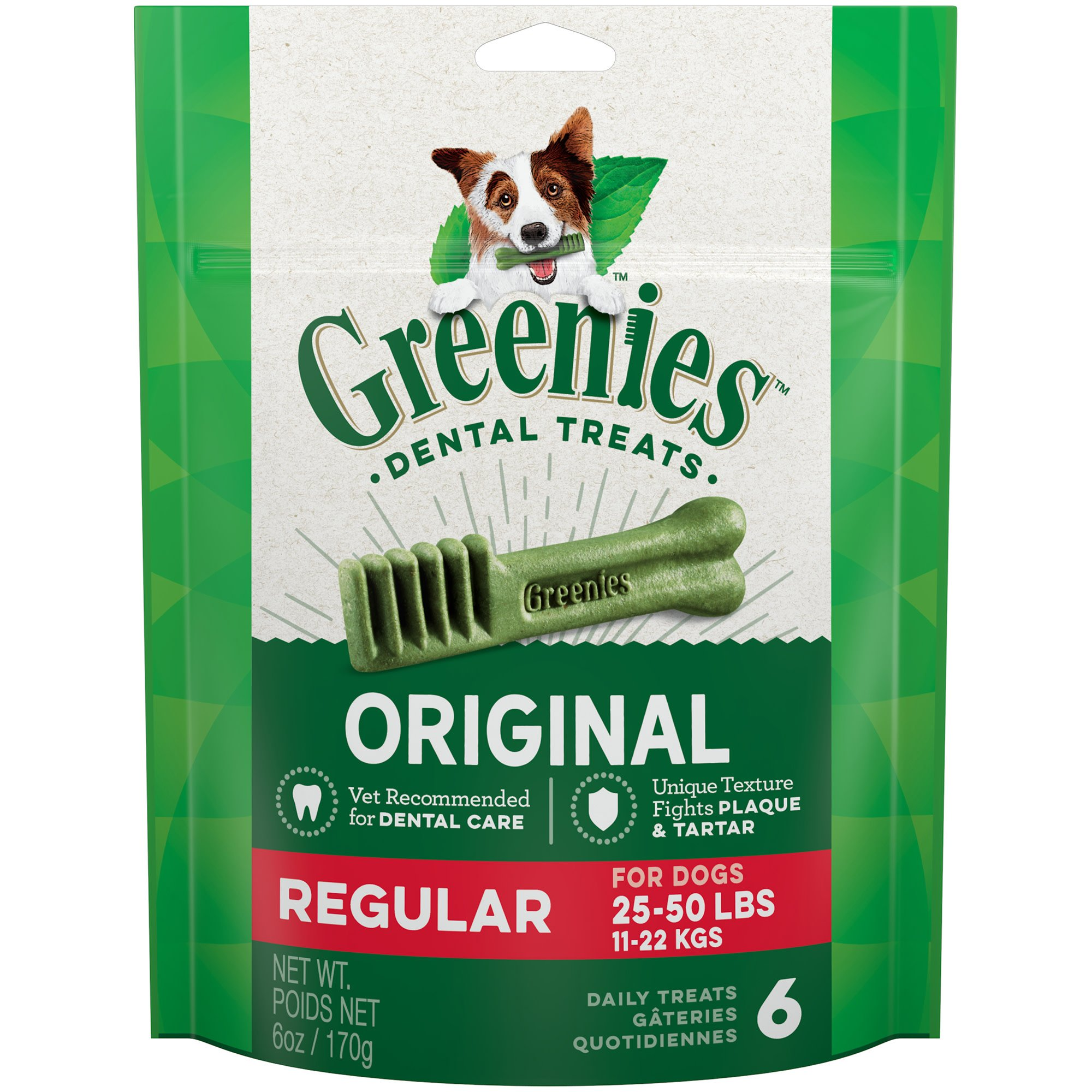 Greenies Original Regular Dental Dog Treats, 6-count