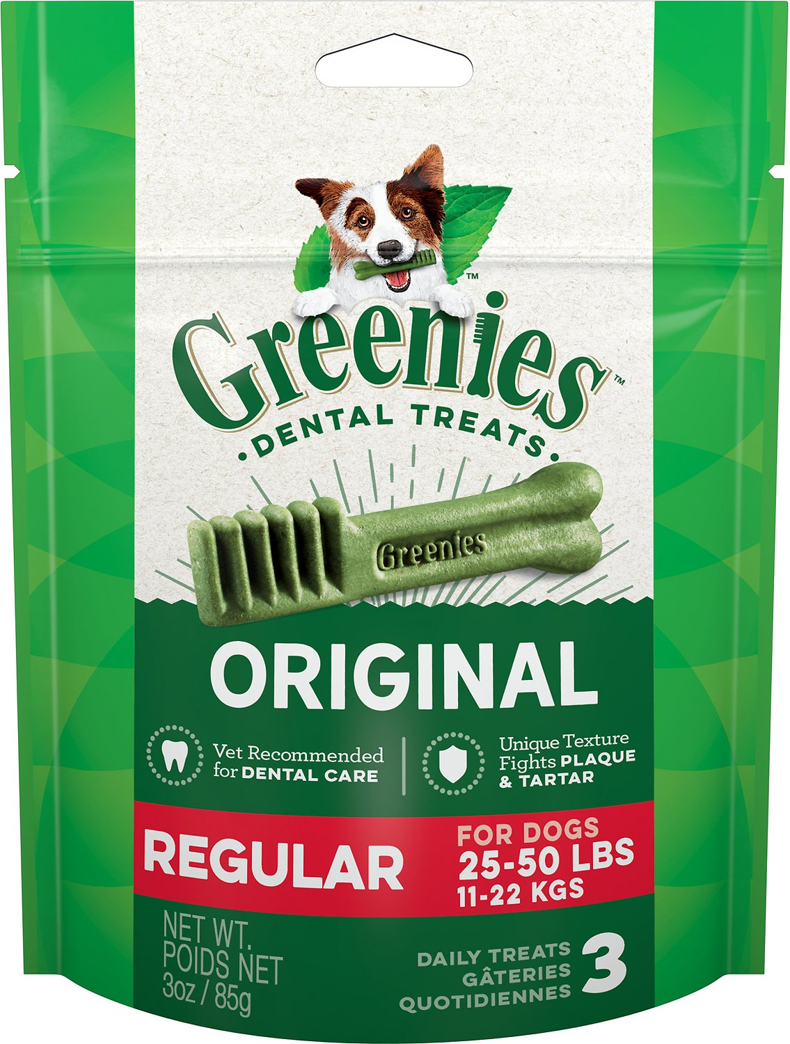 Greenies Original Regular Dental Dog Treats, 3-count