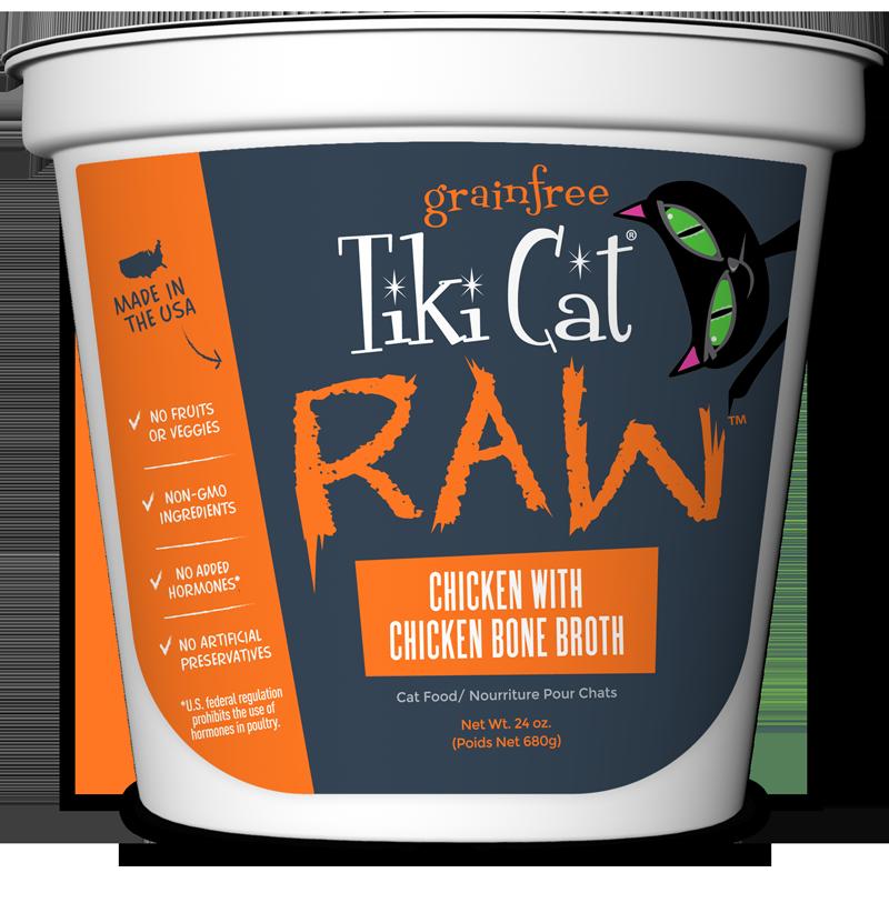 Tiki Cat Raw Greain-Free Chicken with Chicken Bone Broth Frozen Cat Food, 24-oz