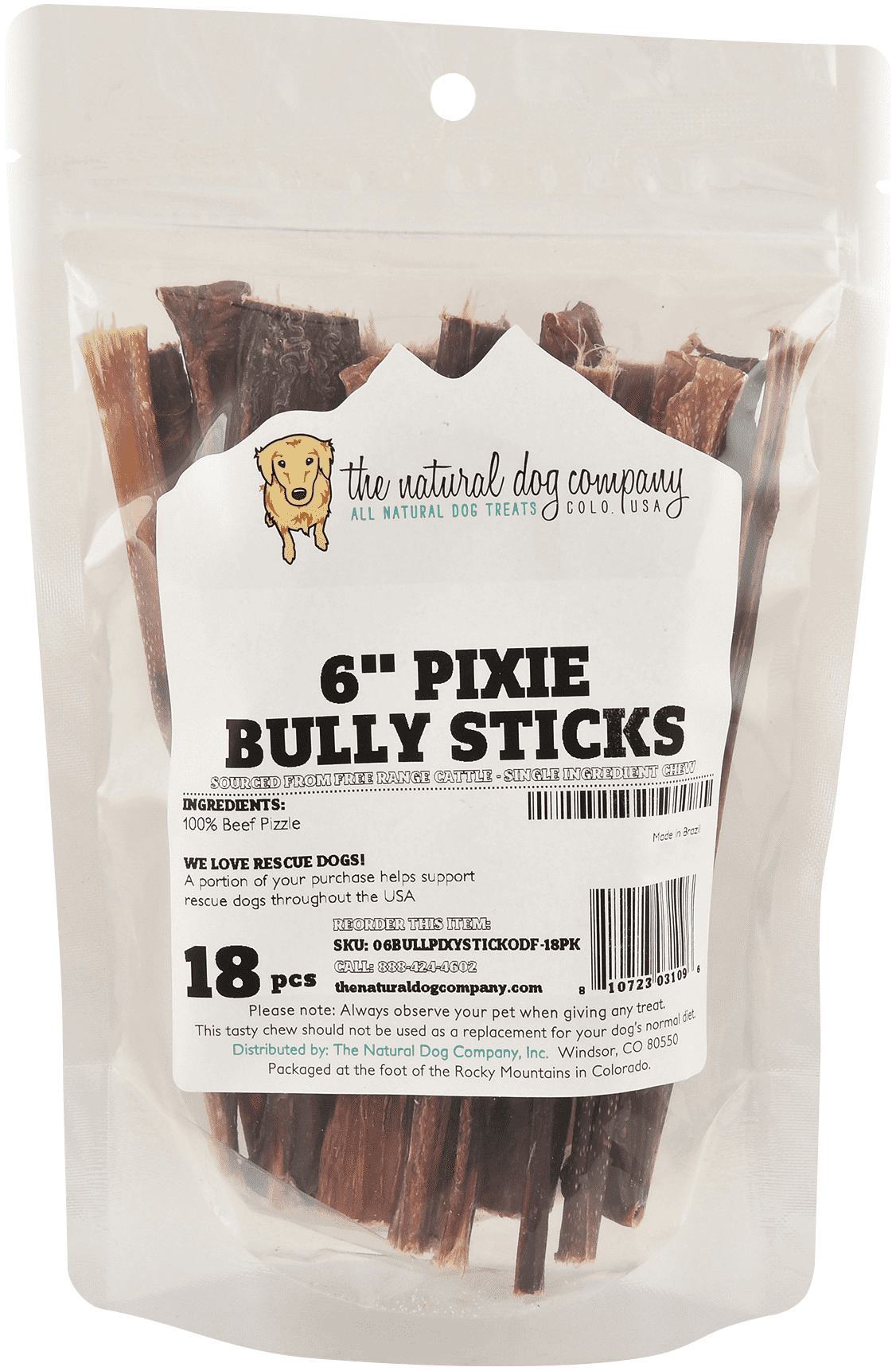 "The Natural Dog Company 6"" Pixie Bully Stick Dog Treats, 18-pack"