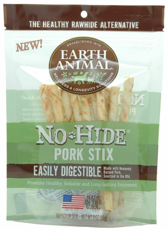 Earth Animal No-Hide Pork Stix Chew Dog Treat, 90-unit case