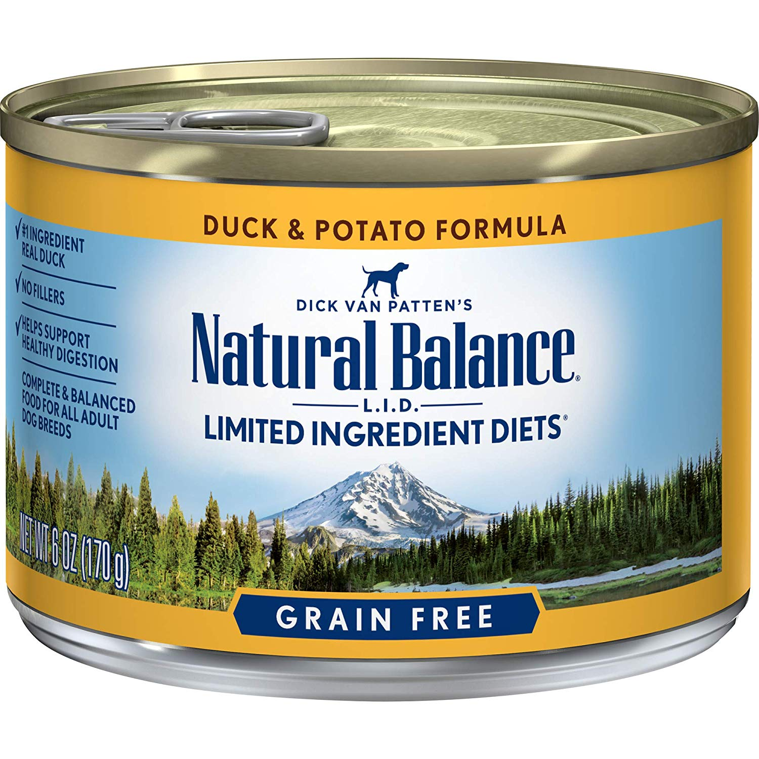 Natural Balance L.I.D. Limited Ingredient Diets Duck & Potato Formula Grain-Free Canned Dog Food, 6-oz