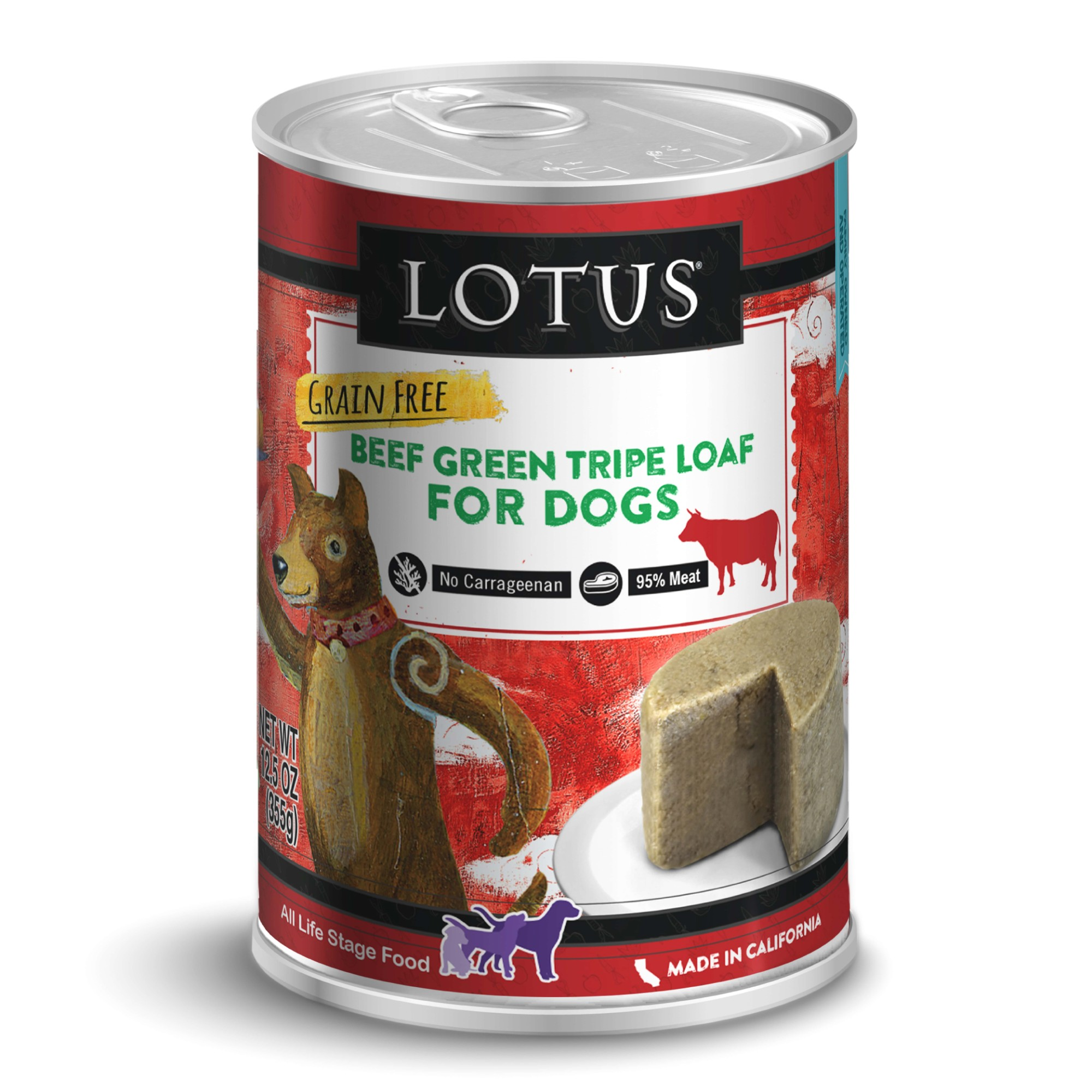 Lotus Beef Green Tripe Loaf Grain-Free Wet Dog Food, 12.5-oz