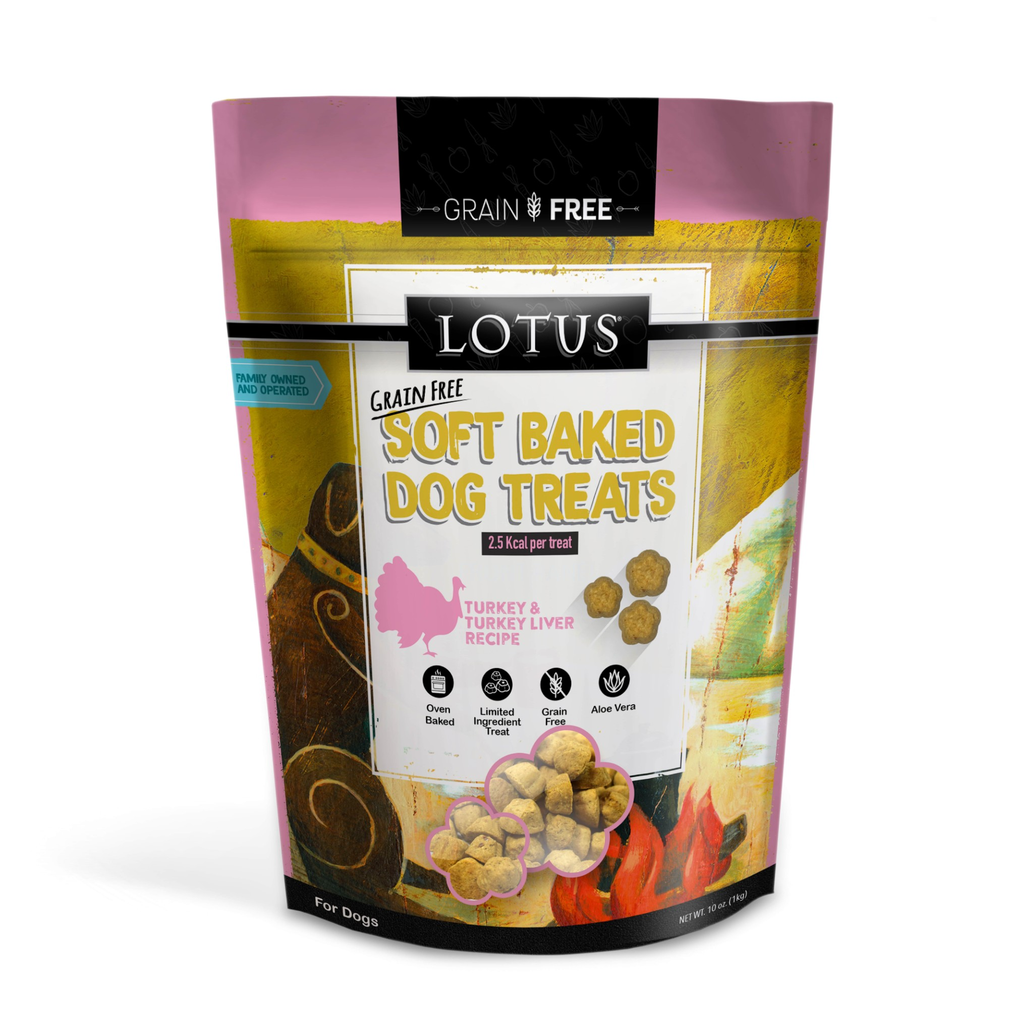 Lotus Soft-Baked Turkey and Turkey Liver Recipe Grain-Free Dog Treats, 10-oz bag