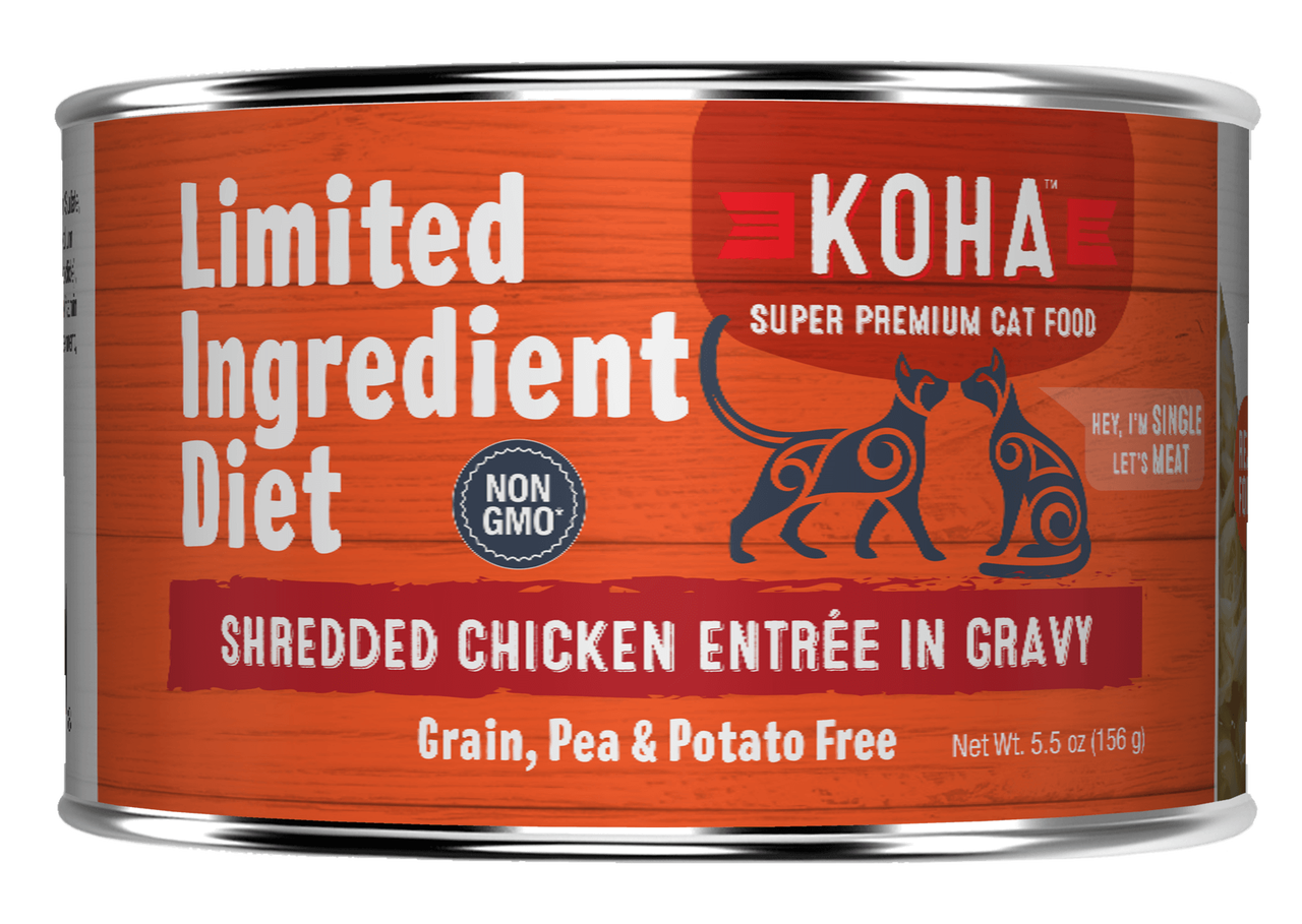 Koha Limited Ingredient Grain Free Shredded Chicken Entree in Gravy Wet Cat Food