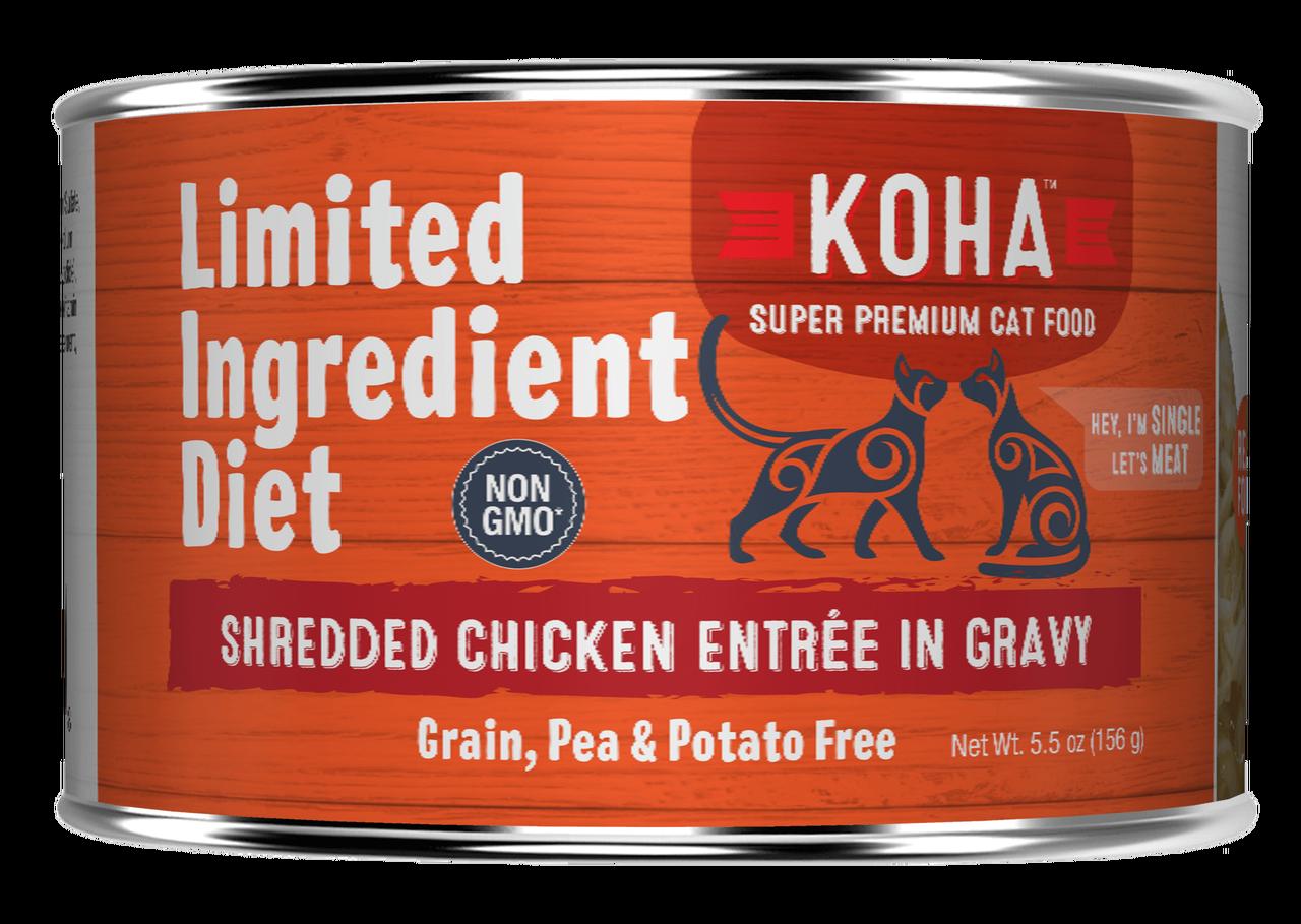 Koha Limited Ingredient Grain Free Shredded Chicken Entree in Gravy Wet Cat Food, 5.5-oz can
