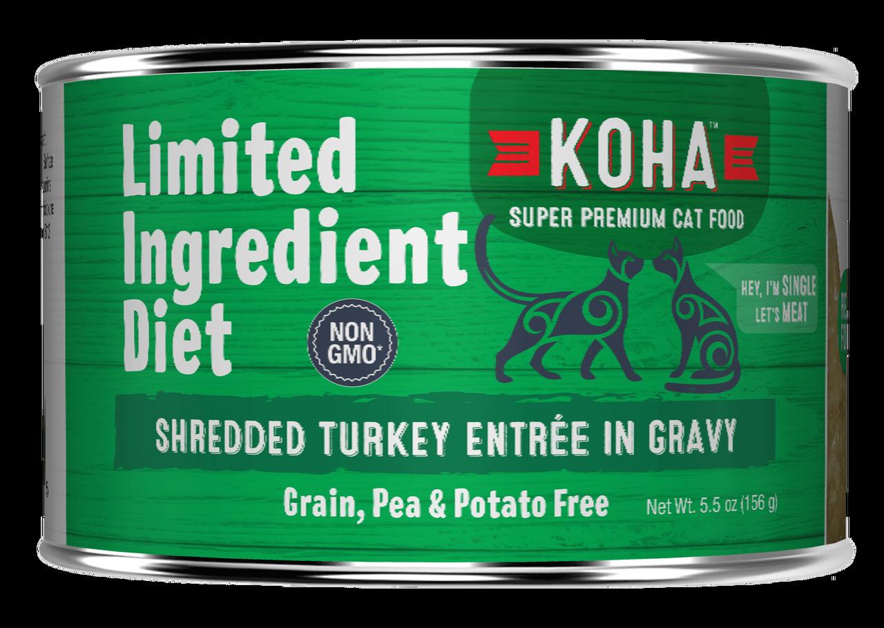 Koha Limited Ingredient Grain Free Shredded Turkey Entree in Gravy Wet Cat Food