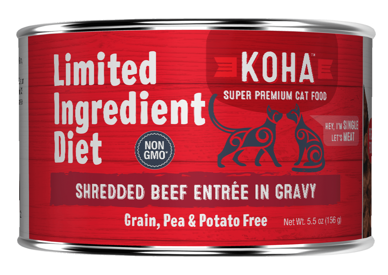 Koha Limited Ingredient Grain Free Shredded Beef Entree in Gravy Wet Cat Food