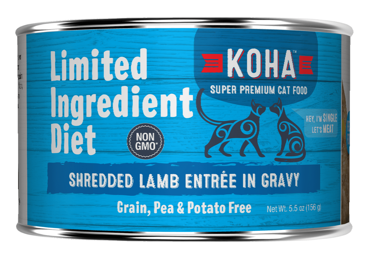 Koha Limited Ingredient Grain Free Shredded Lamb Entree in Gravy Wet Cat Food