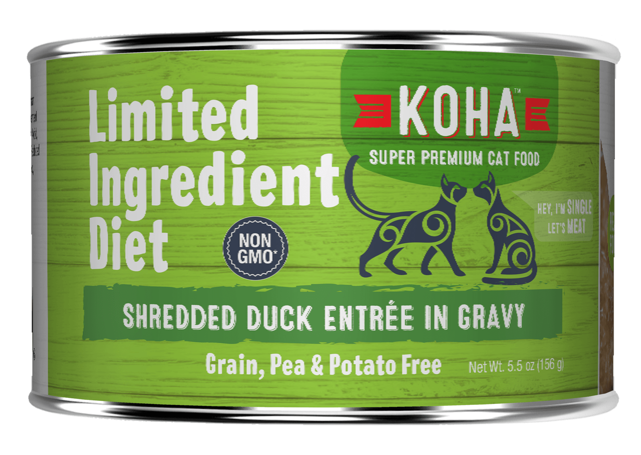 Koha Limited Ingredient Grain Free Shredded Duck Entree in Gravy Wet Cat Food