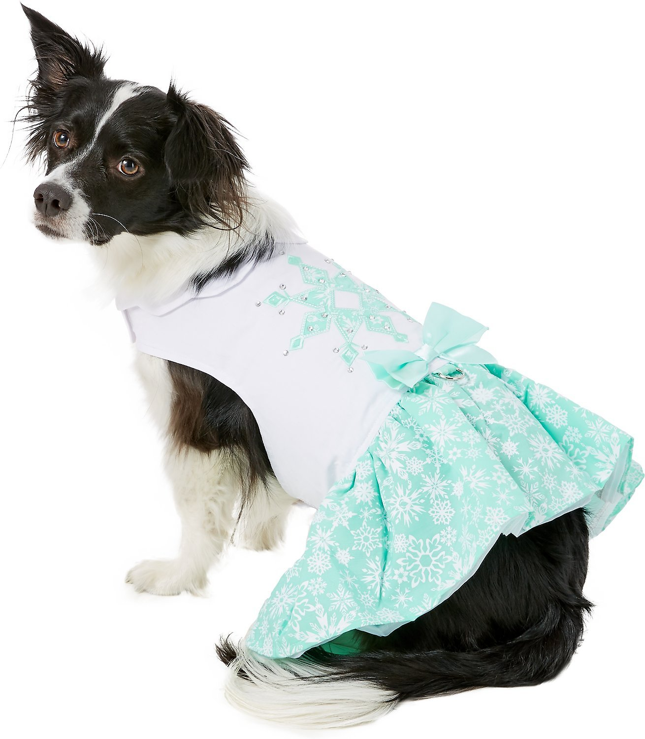 Doggie Design Dog Dress with Matching Leash, Turquoise Crystal, X-Small