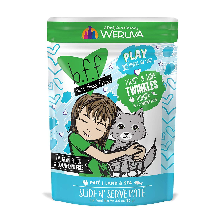 BFF PLAY Pate Twinkles Turkey & Tuna Dinner in Puree Grain-Free Wet Cat Food, 3-oz pouch