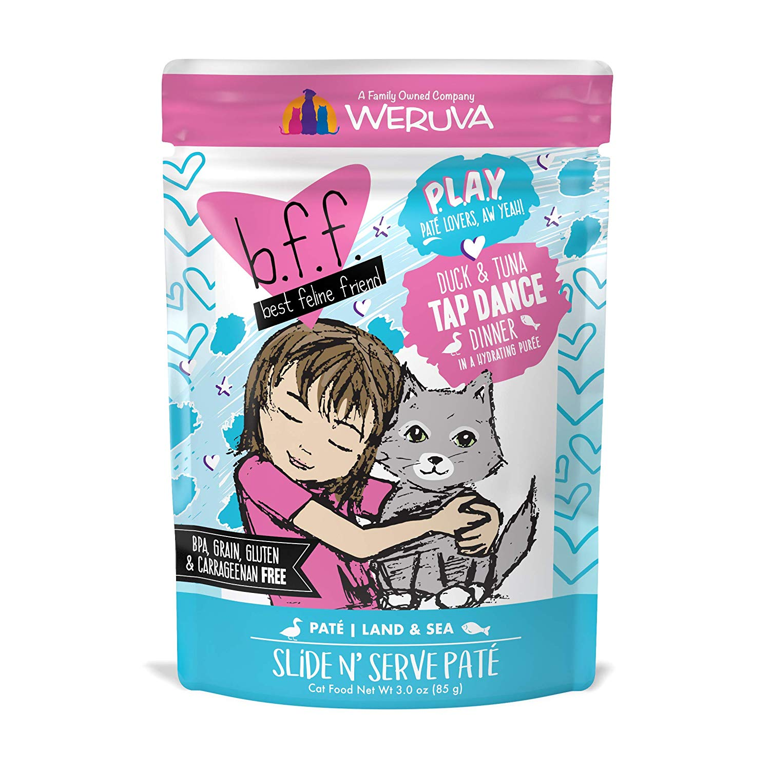 BFF PLAY Pate Tap Dance Duck & Tuna Dinner in Puree Grain-Free Wet Cat Food, 3-oz pouch