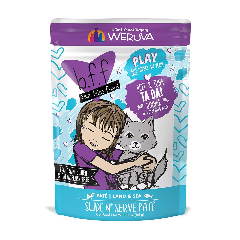 BFF PLAY Pate Ta Da! Beef & Tuna Dinner in Puree Grain-Free Wet Cat Food, 3-oz pouch