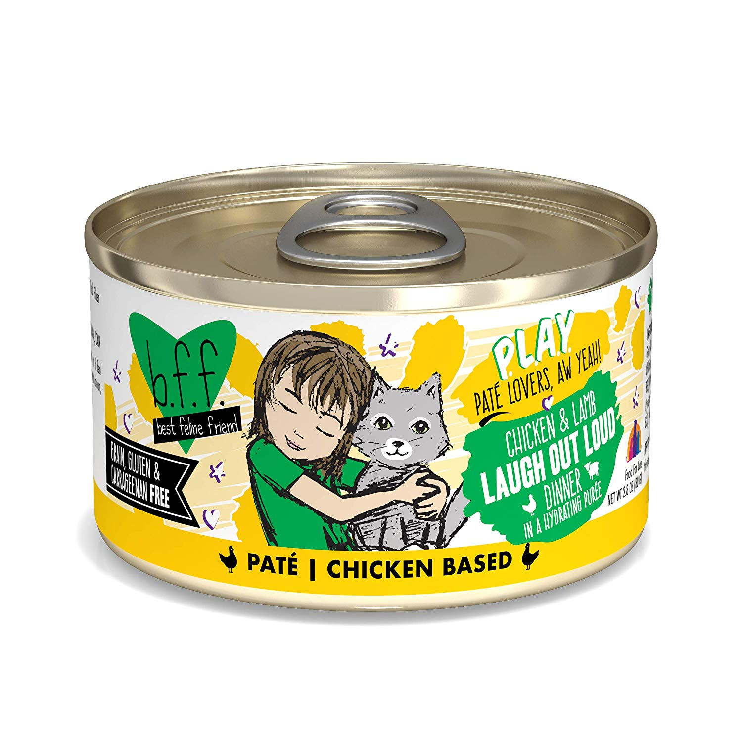 BFF PLAY Pate Laugh Out Loud Chicken & Lamb Dinner in Puree Grain-Free Wet Cat Food, 2.8-oz