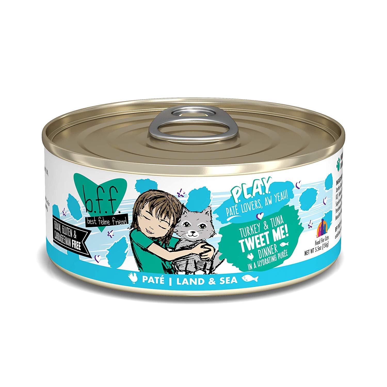 BFF PLAY Pate Tweet Me! Turkey & Tuna Dinner in Puree Grain-Free Wet Cat Food, 5.5-oz