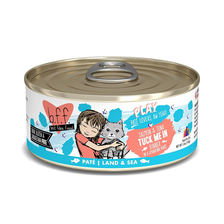 BFF PLAY Pate Tuck Me In Salmon & Tuna Dinner in Puree Grain-Free Wet Cat Food, 5.5-oz