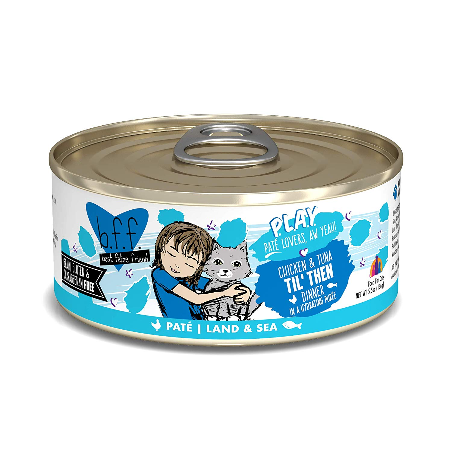 BFF PLAY Pate Til' Then Chicken & Tuna Dinner in Puree Grain-Free Wet Cat Food, 5.5-oz