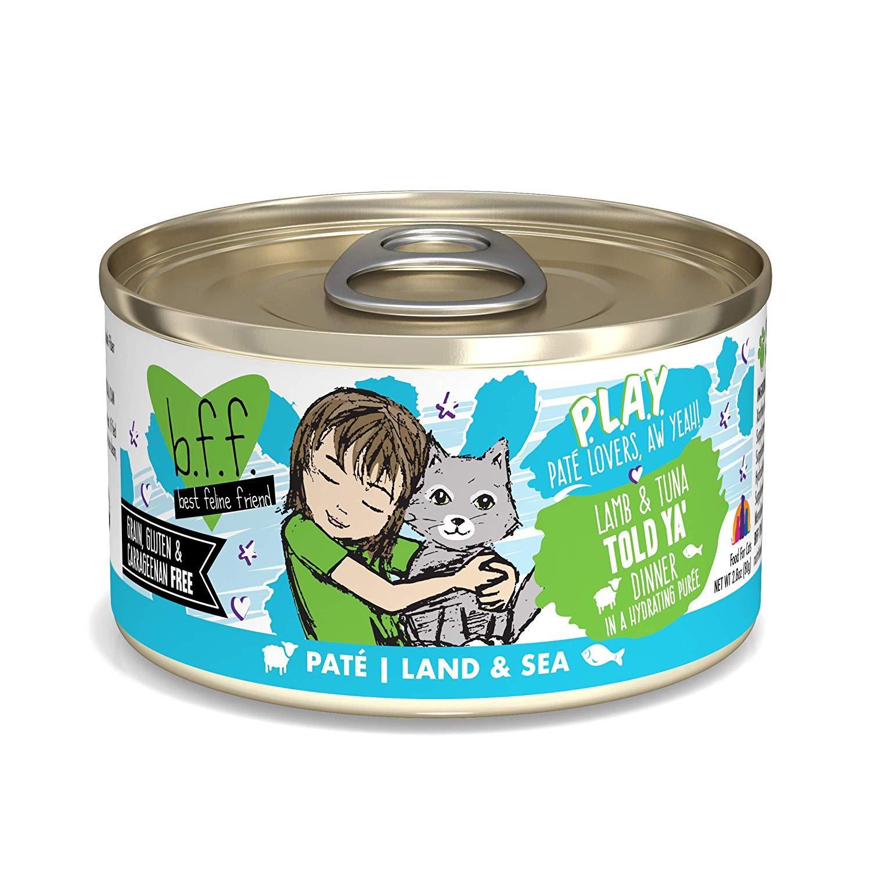 BFF PLAY Pate Told Ya' Lamb & Tuna Dinner in Puree Grain-Free Wet Cat Food, 2.8-oz