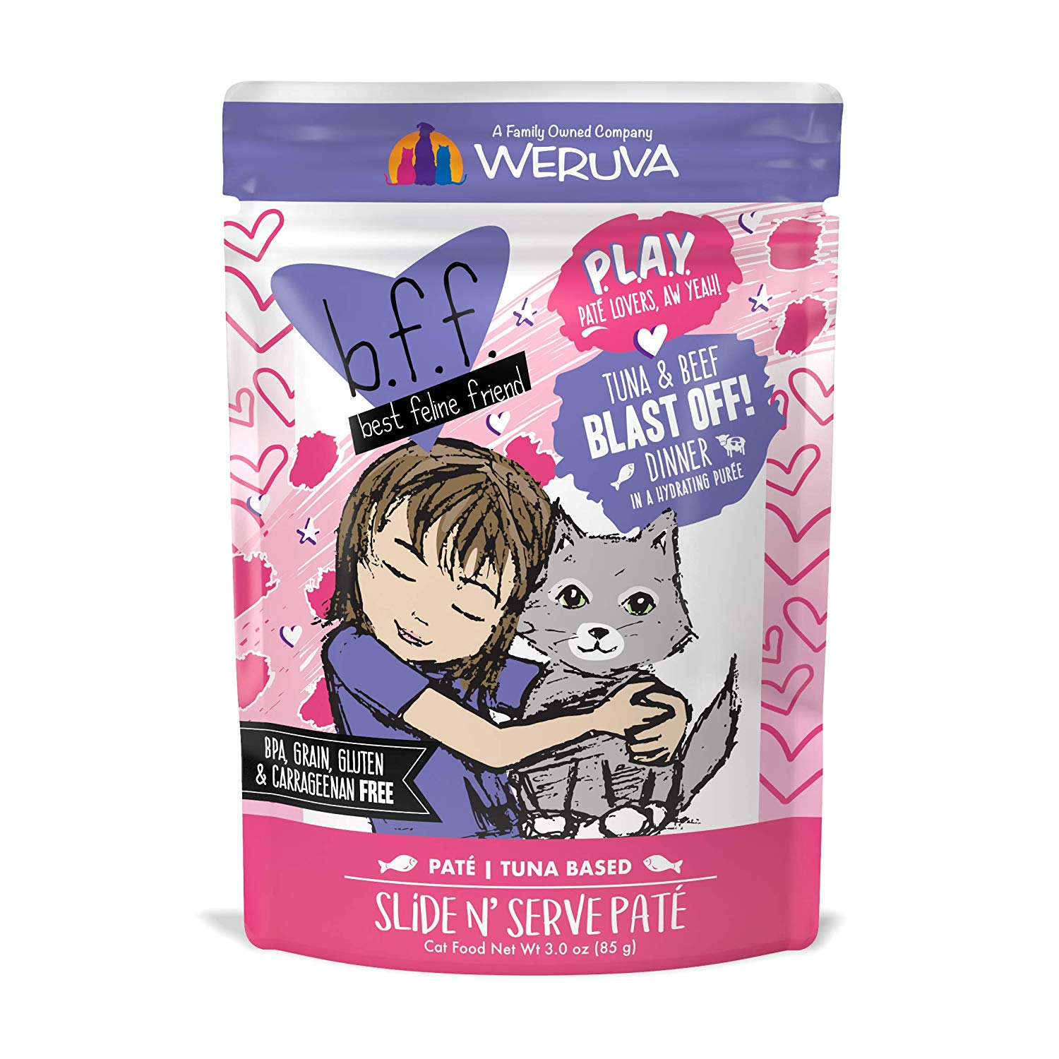BFF PLAY Pate Blast Off! Tuna & Beef Dinner in Puree Grain-Free Wet Cat Food, 3-oz pouch
