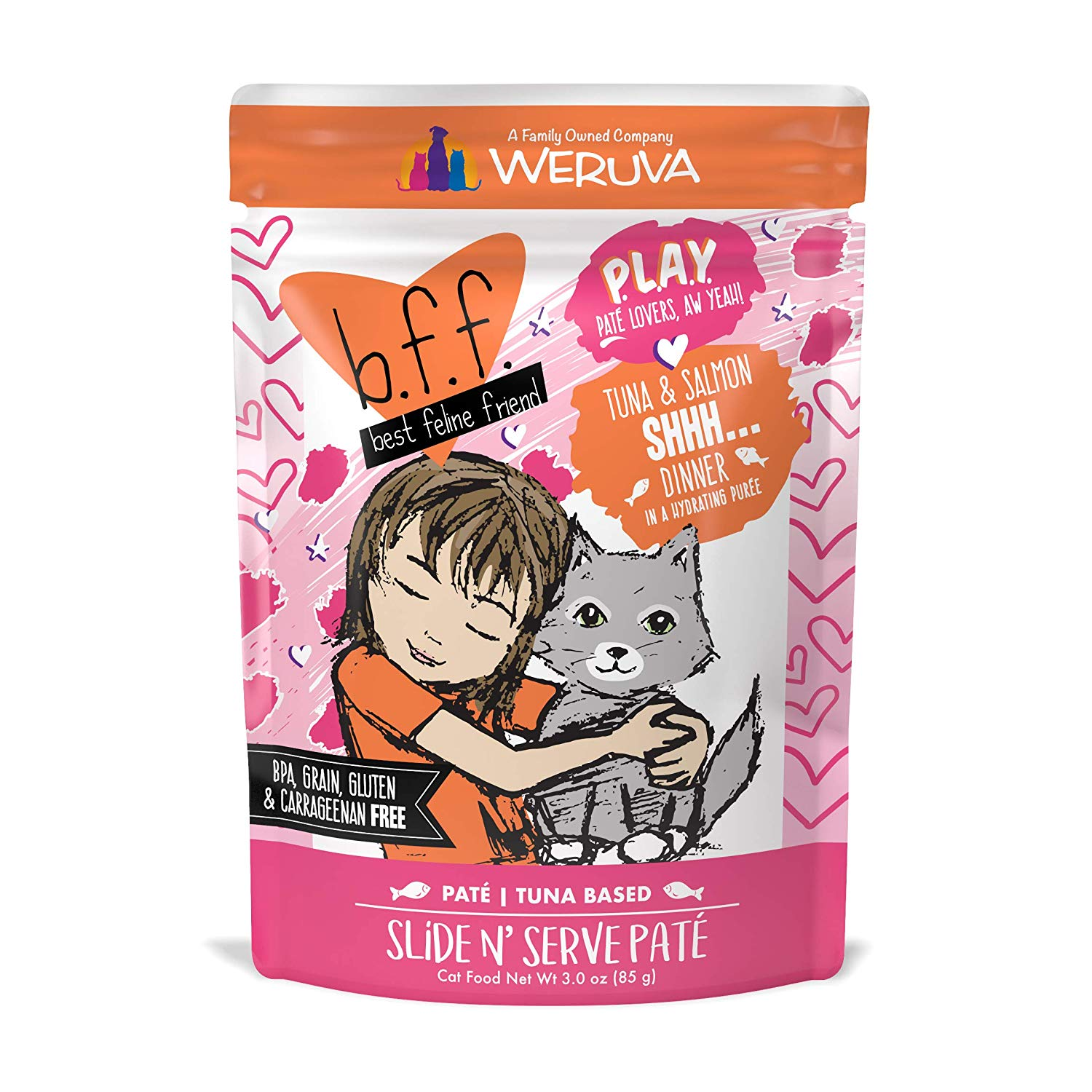BFF PLAY Pate Shhh… Tuna & Salmon Dinner in Puree Grain-Free Wet Cat Food, 3-oz pouch