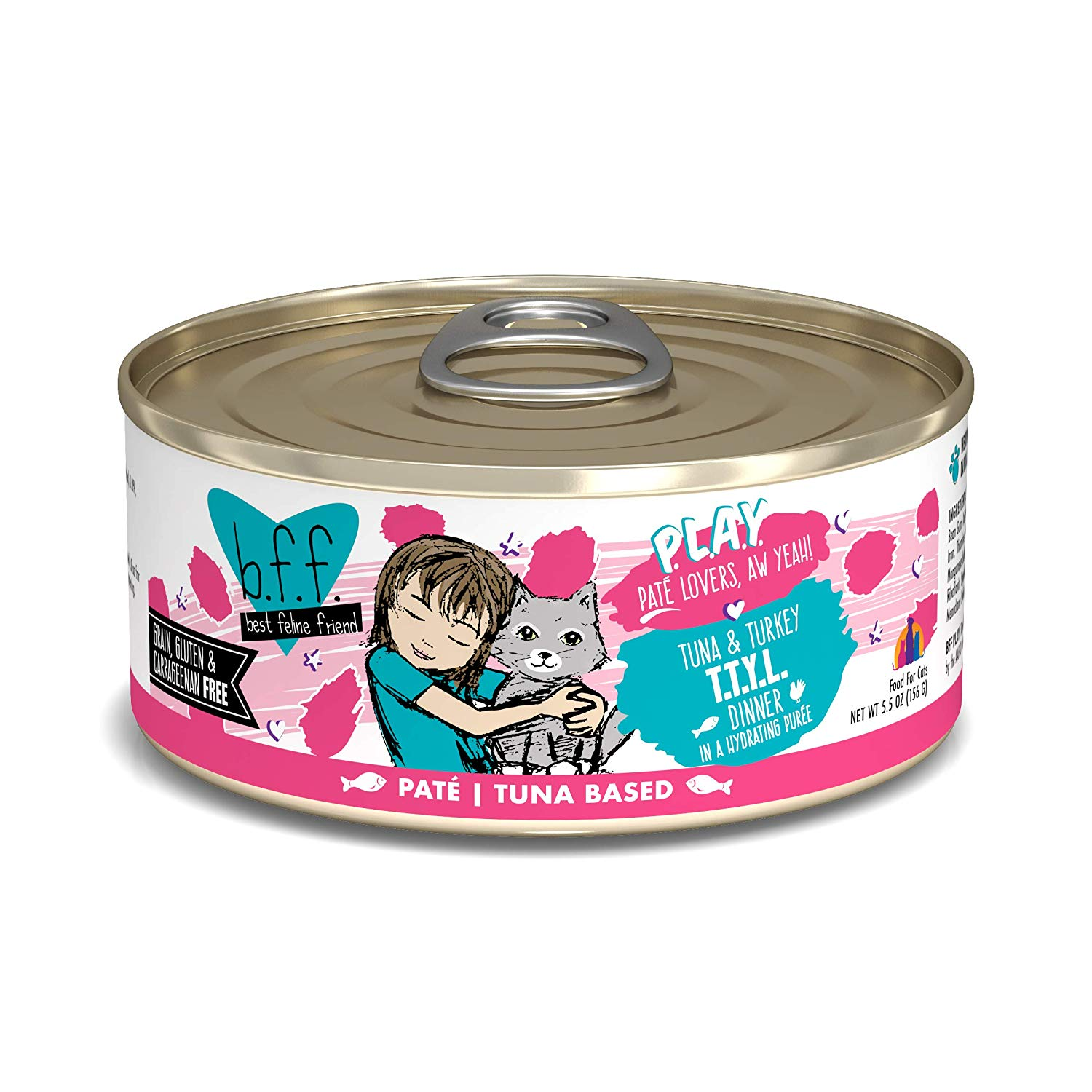 BFF PLAY Pate T.T.Y.L. Tuna & Turkey Dinner in Puree Grain-Free Wet Cat Food, 5.5-oz