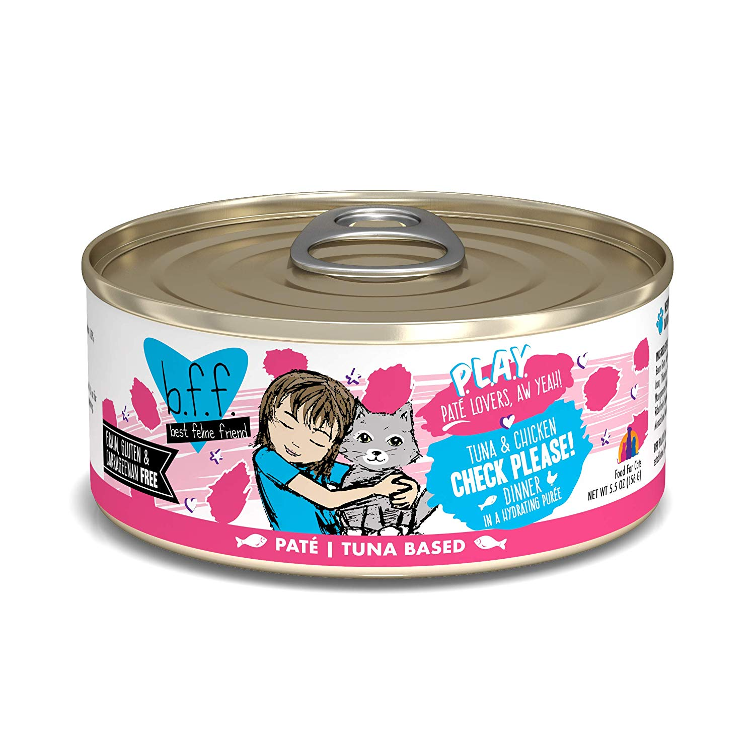 BFF PLAY Pate Check Please! Tuna & Chicken Dinner in Puree Grain-Free Wet Cat Food, 5.5-oz