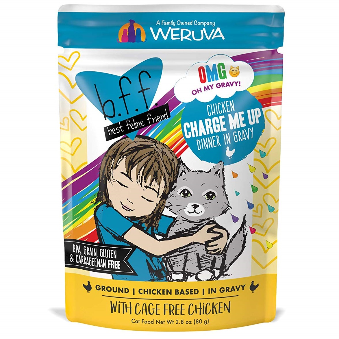 BFF Oh My Gravy! Charge Me Up! Chicken Dinner in Gravy Grain-Free Wet Cat Food, 3-oz pouch