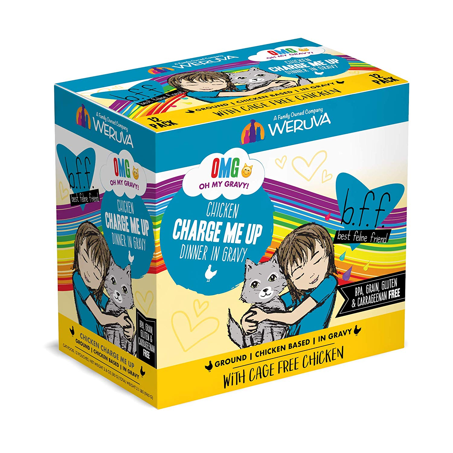 BFF Oh My Gravy! Charge Me Up! Chicken Dinner in Gravy Grain-Free Wet Cat Food, 3-oz pouch, case of 12