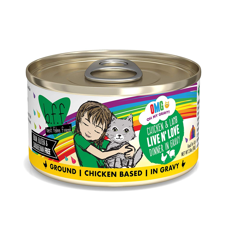 BFF Oh My Gravy! Live N' Love! Chicken & Lamb Dinner in Gravy Grain-Free Wet Cat Food, 2.8-oz