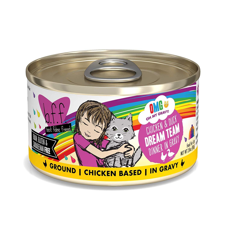 BFF Oh My Gravy! Dream Team! Chicken & Duck Dinner in Gravy Grain-Free Wet Cat Food, 2.8-oz