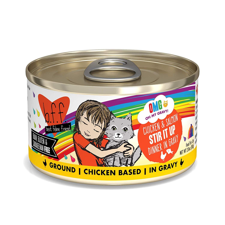 BFF Oh My Gravy! Stir It Up! Chicken & Salmon Dinner in Gravy Grain-Free Wet Cat Food, 2.8-oz