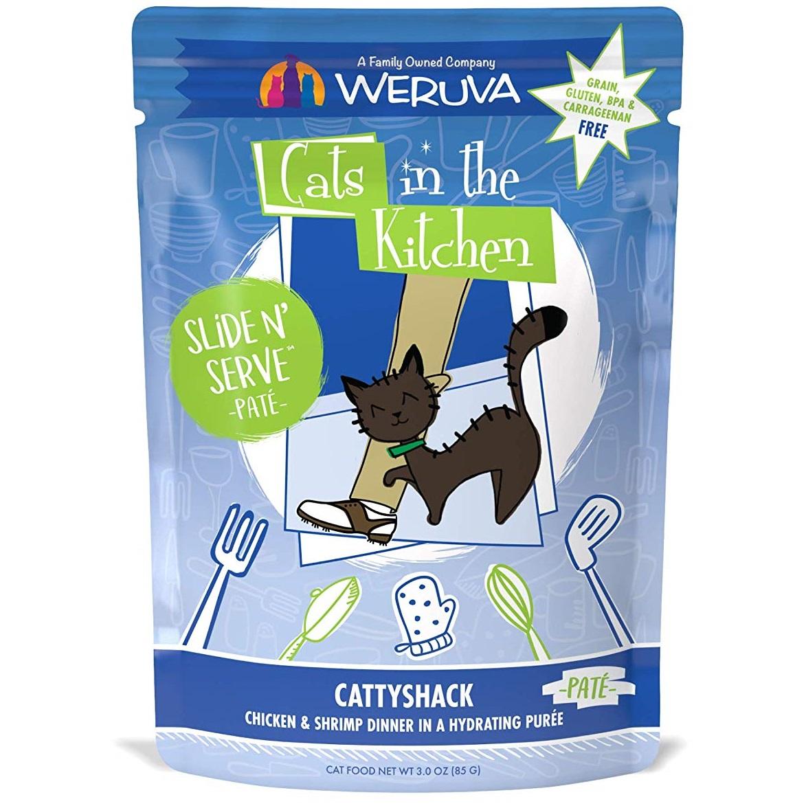 Weruva Cats In The Kitchen Pate Cattyshack Chicken & Shrimp Dinner in Puree Grain-Free Wet Cat Food, 3-oz pouch